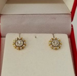 Star/Sun Shaped Diamond and 22k Gold Earrings